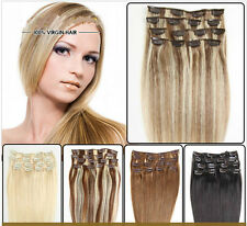 100% Real Remy Brazilian Virgin Natural Clip In Human Hair Extensions 7 Pcs/70G