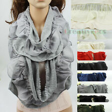 Women Fashion Chiffon Ruffle Mini Lace Trim Stitching Knit Long Scarf Lady Shawl