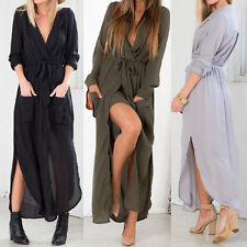 Sexy Womens V Neck Chiffon Summer Evening Cocktail Party Beach Maxi Dress 6-14