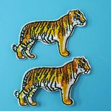 2 Tiger Wild Animal Iron on Sew Patch Cute Applique Badge Embroidered Biker Moto