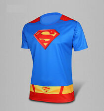 Mens Superman Crew-neck Quick Dry Short Sleeve T-shirt Cycling Jersey Basic Tees