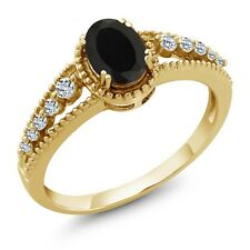 1.01 Ct Oval Black Onyx White Topaz 14K Yellow Gold Ring