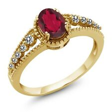 1.02 Ct Oval Red Mystic Topaz White Diamond 14K Yellow Gold Ring