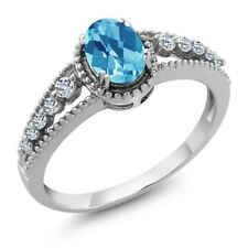 1.16 Ct Oval Checkerboard Swiss Blue Topaz White Topaz 925 Sterling Silver Ring