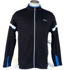 Asics Black & Blue Zip Front Reflective Running Jacket Mens NWT