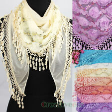 Fashion Women's 3D Flower Sequins Triangle Scarf Shawl Wrap Lace Trim Tassel New