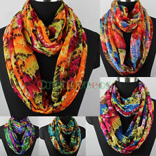 Colorful Feather Print Soft Chiffon Infinity Loop Cowl Circle Scarf Wrap New