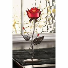 BULK LOTS  Iron, Glass and Acrylic Red Rose Tealight Candle Holders