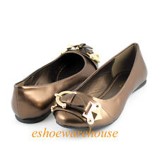 Bronze Metallic Awesome Cutie Comfy Buckle Detail Round Toe Ballet Flats