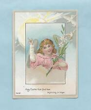 Lovely ANGEL, DOVES On Authentic Unused VICTORIAN EASTER Greeting Card