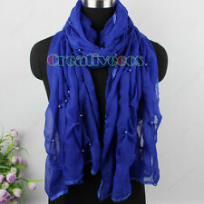 New Fashion Stylish Women Girl's Pearls Chiffon Crinkle Long Scarf Shawl Wrap