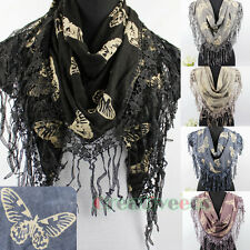 Cute Apricot Color Butterfly Flocking Long Tassel Warm Wool Knit Triangle Scarf