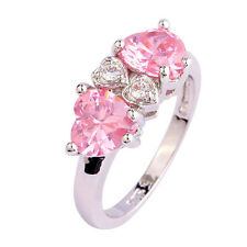 Cute Heart Cut Pink & White Topaz Gemstones Silver Ring Size 7 8 9 10 Free Ship