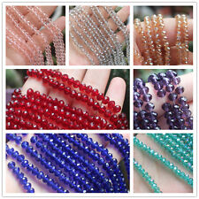 96pcs 4x6mm/140pcs 3x4mm Rondelle Faceted Crystal Glass Loose Beads