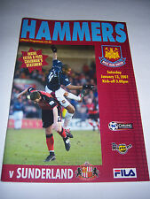 WEST HAM UNITED v SUNDERLAND 2000/01 - PREMIERSHIP - FOOTBALL PROGRAMME