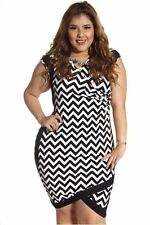 121AVENUE Sexy Alluring V-Neck Dress 1X 2X 3X Women Plus Size Black Cocktail