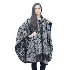 Superfine Reversible Baroque Alpaca Wool Poncho Cloak with matching Scarf