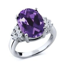 4.40 Ct Oval Purple Amethyst White Topaz 925 Sterling Silver Ring