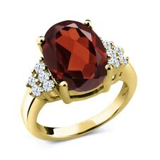 3.80 Ct Oval Red Garnet 18K Yellow Gold Plated Silver Ring