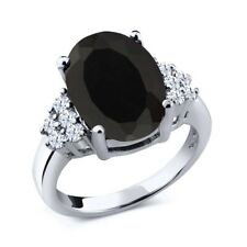 4.40 Ct Oval Black Onyx White Topaz 925 Sterling Silver Ring