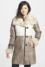 LAUNDRY By SHELLI SEGAL Woman's Taupe Beige Faux Shearling Coat Jacket 3/4