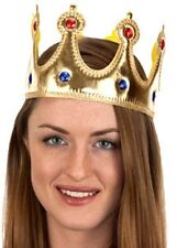 RENAISSANCE MEDIEVAL PRINCE KING QUEEN COSTUME CROWN HAT GOLD JEWELED ADULT KIDS