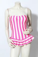 JUICY COUTURE Pink & White Striped Ruffle Bandeau One Piece Swimsuit NWT $160 XS