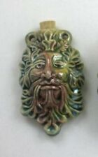 Raku Ceramic Pottery Bottle-Necklace, Greenman Design Choice of Lot Size & Price