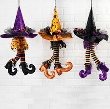 "RAZ Imports~23"" Halloween Hanging Witch Hat w/ Dangling Legs/Shoes~Wreath/Tree"