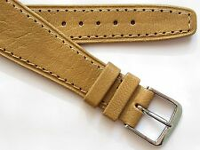 Vintage Sand-brown genuine goat leather open end wirelug watch band ~ 20 mm