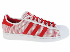 NEW MENS ADIDAS ORIGINALS SUPERSTAR CASUAL SHOES TRAINERS WHITE / COLLEGIATE RED