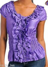 Purple Smocked/Ruffle Button Front Cap Sleeve Plus Top