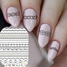 3D Nail Art Tips White Lace Stickers Wraps Decal Manicure Decor DIY