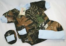 MOSSY OAK CAMO CAMOUFLAGE & BLUE 3 PC INFANT SNAP DIAPER SHIRT BABY GIFT SET HAT