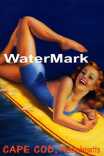 SURF CAPE COD MASSACHUSETTS BEACH GIRL WATER BOARD SURFING VINTAGE POSTER REPRO