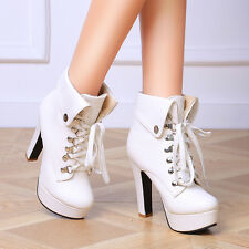 Punk Womens Platform High Block Heels Cuffed Warm Lace Up Motorcycle Ankle Boots