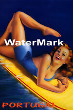 SURF PORTUGAL BEACH GIRL WATER BOARD SURFING FUN TRAVEL VINTAGE POSTER REPRO