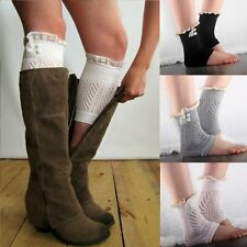 Women's Charming Crochet Knit Leg Warmers Toppers Cuffs Short Liner Boot Socks