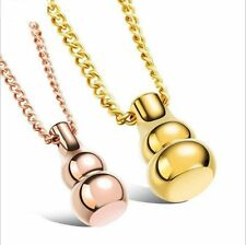 Stainless Steel Unique Bottle Gourd Pendant Necklace Rose Gold Black Silver