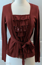 ~APT. 9~ Regal Red sweater cardigan with built-in Ruffled Blouse Size PM ~NWT