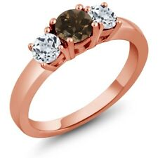1.12 Ct Round Brown Smoky Quartz White Topaz 18K Rose Gold Ring