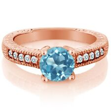 1.55 Ct Swiss Blue Topaz White Created Sapphire 18K Rose Gold Plated Silver Ring