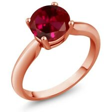 1.55 Ct Round Red Created Ruby 14K Rose Gold Ring