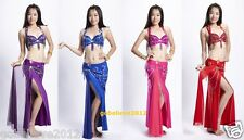 Hot! Brand New Sexy Belly Dance 2 Pcs Costume Bra & Skirt 4 Colours Hand Made