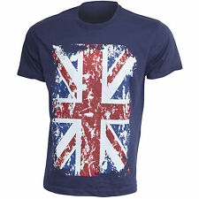 Mens Union Jack GB Print 100% Cotton Short Sleeve Casual T-Shirt/Top