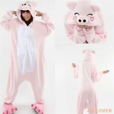 Hot Unisex Adult Pajamas Kigurumi Cosplay Costume Animal Onesie pink pig