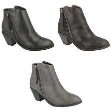 Spot On Womens/Ladies Heeled Zip Up Ankle Boots