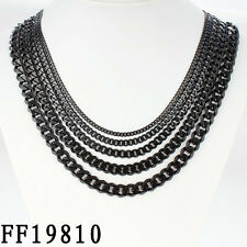 Boys MENS Chain Black Tone Curb Link Stainless Steel Necklace 18-36'' 3/5/7mm