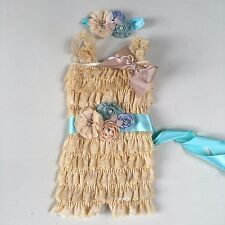 baby lace Posh Petti Ruffle Rompers baby girl romper newborn Natural Tan aqua