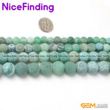 Natural Round Green Agate Frost Matte Stone Beads For Jewelry Making Strand 15''